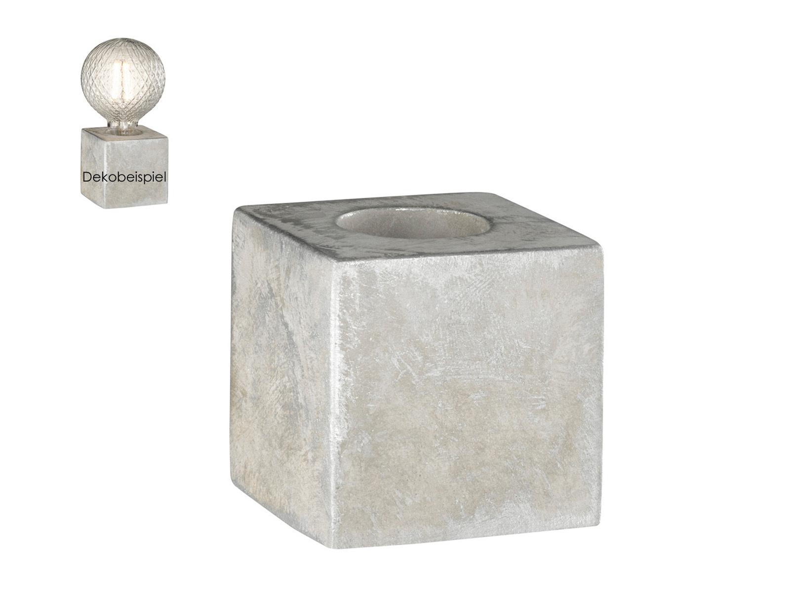Tischleuchte im Retro Design Würfel Beton grau E27 Fassung Tischlampe Industrie