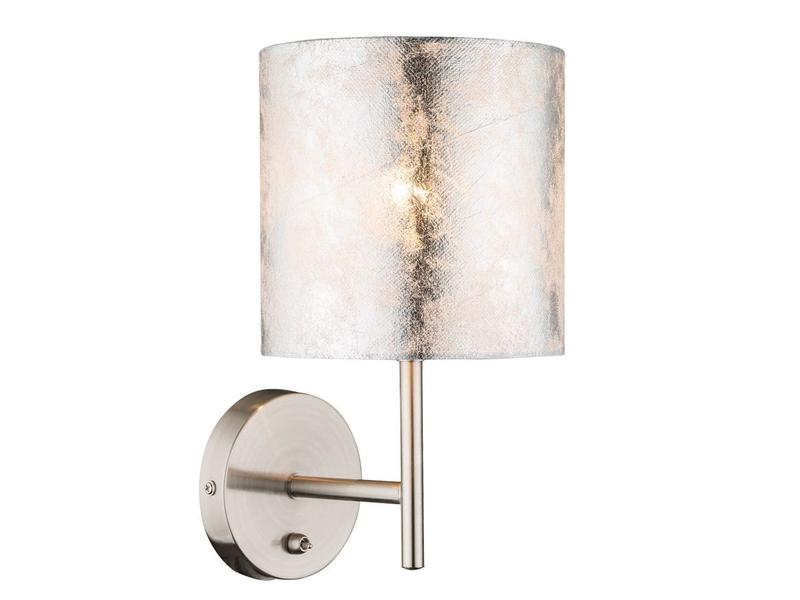 Wohnzimmerlampe Tischleuchte Textilschirm silber 15cm Globo Tischlampe mit LED