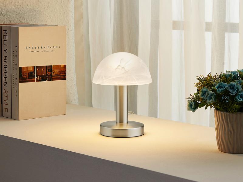 DESIGN LED Nachttischleuchte Nickel matt Kugel Lampenschirm Glas Opal-Weiß Flur