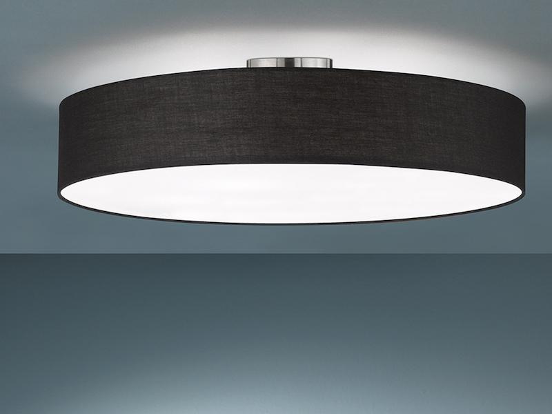 Flurlampen TRIO Design Nachttischleuchte Lampenschirm Stoff rund Ø20cm mit LED
