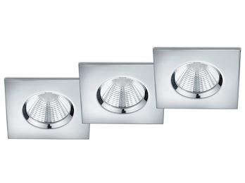 LED Einbaustrahler 3er Set 5,5W Chrom eckig Trio Leuchten ...