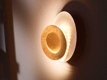 Retro Wohnraumleuchten Design LED Wandleuchte rund Ø 22cm Silberfarben 8Watt