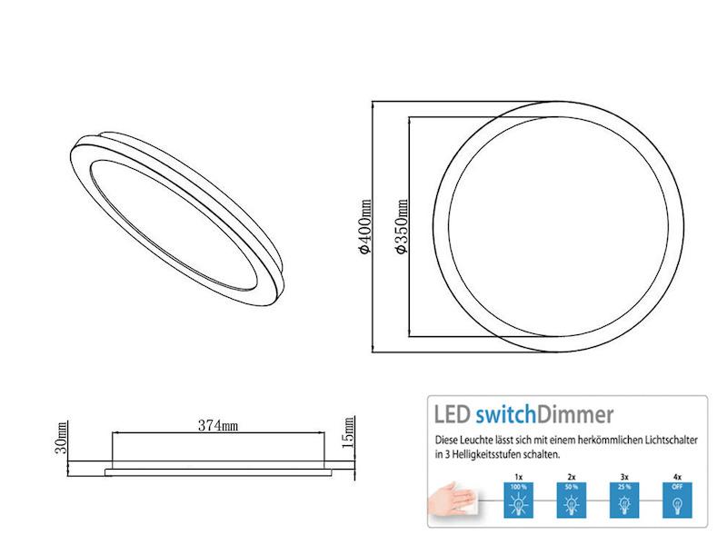 Runde LED Deckenlampe in chromfarben mit Switch Dimmer IP44 Badleuchte Decke