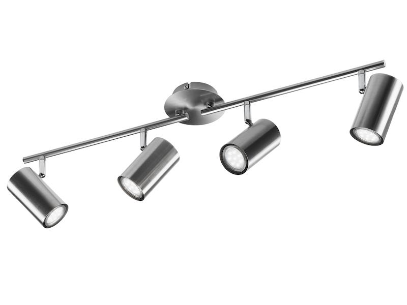 Deckenstrahler Nickel matt 6 Spots schwenkbar GU10 Fassung Wohnraumleuchten