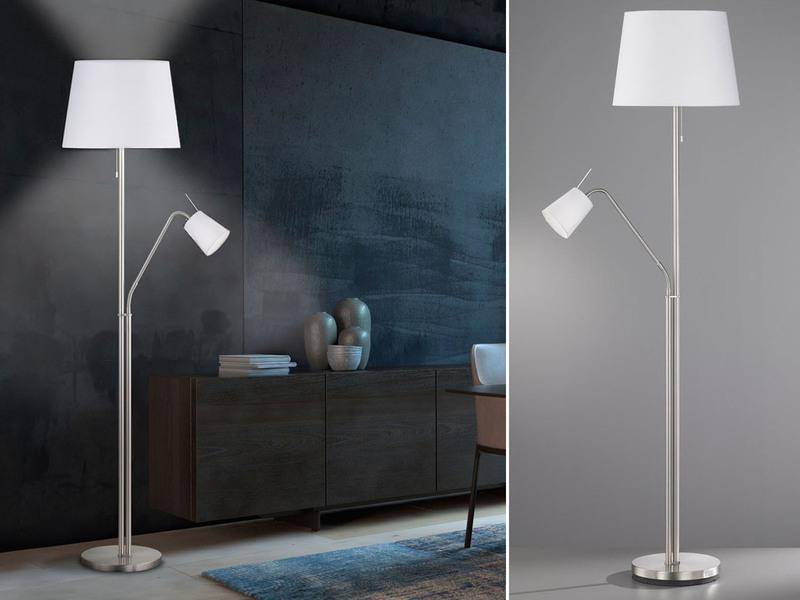 Wohnzimmerlampen Wohnzimmerleuchten Schöne Stehlampe aus Stoff mit Leselicht