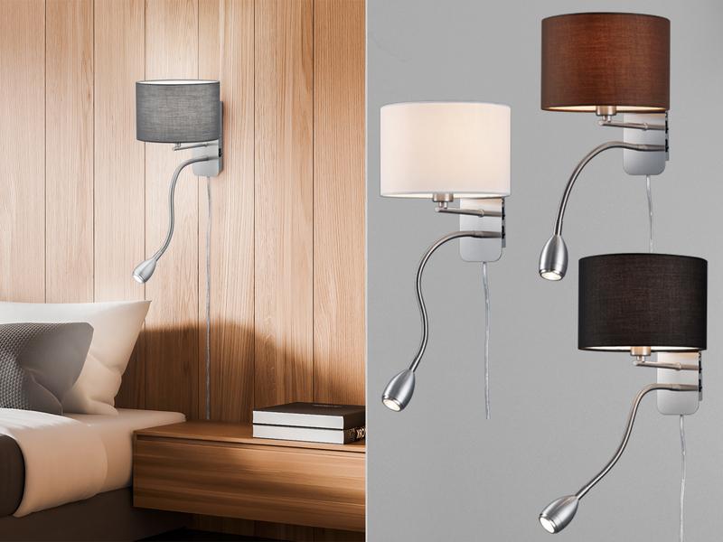 Wohnzimmerlampen Klassische LED Wandlampe mit Stoff Schirm Ø 20cm /& Leselampe