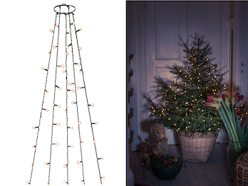 Hängende LED Christbaum Lichterkette 250 bernsteinfarbene LED´s  -