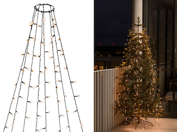 Hängende LED Christbaum Lichterkette 400 bernsteinfarbene LED´s  -