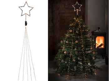 Hängende LED Christbaum Lichterkette mit Stern für Innen 274 LED´s -