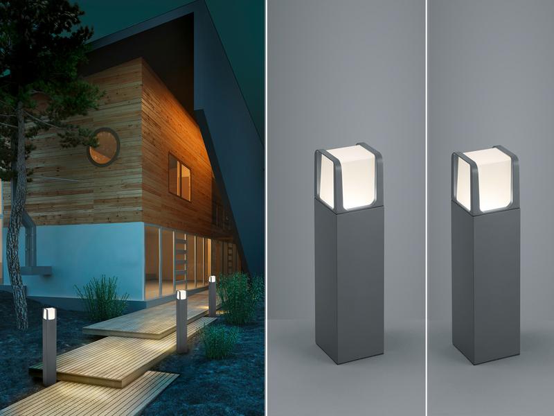 LED Design Wegeleuchten Sockelleuchten Set anthrazit Außenlampe Gartenlaterne