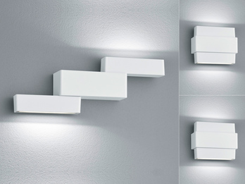 Schwenkbare LED Wandleuchten 2er SET PADMA mit Up- & Downlight aus Alu matt weiß