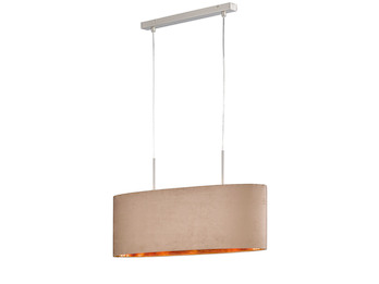 Edle Hängelampe ATHEN mit LED, Stoffschirm 70cm oval cappuccino / innen messing