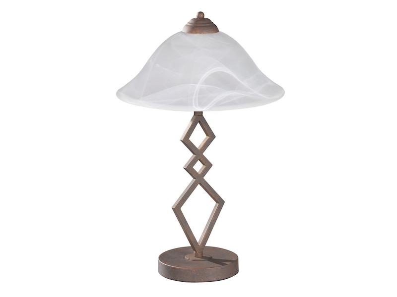 Schöne Stehlampe im Landhausstil Deckenfluter rostfarbig antik Glasschirm weiß
