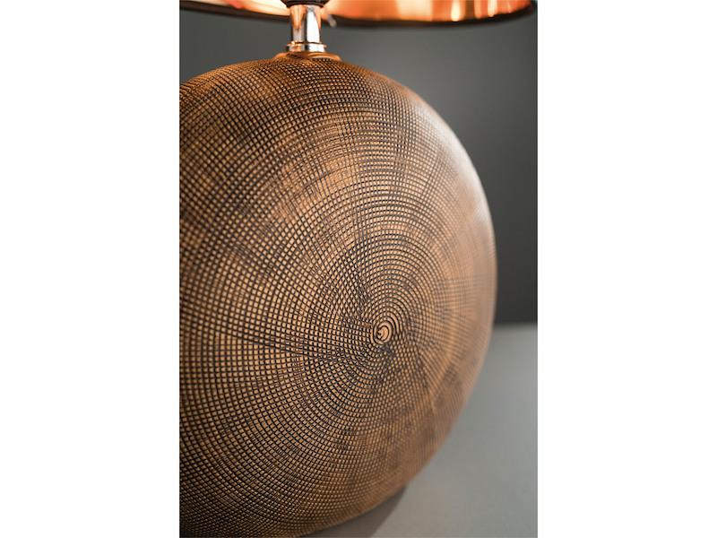 Höhe 37cm LED Tischlampe Keramik grün schwarz mit Stoffschirm oval innen kupfer