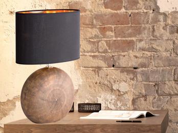 Lampenschirm Textil oval Tischlampe bronzefarbig Keramik Wohnraumleuchte 37cm