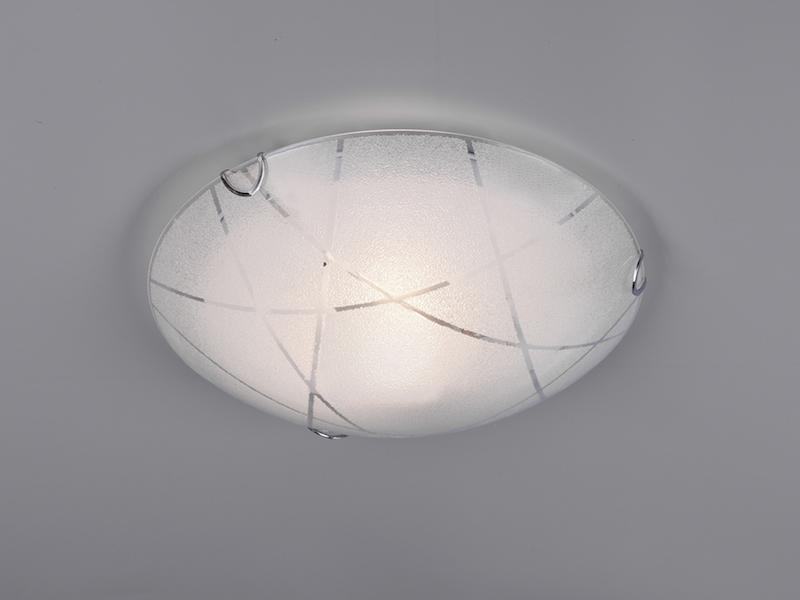 Ø 30cm 2 x E27 TRIO Deckenleuchte // Deckenschale Dekorglas weiß