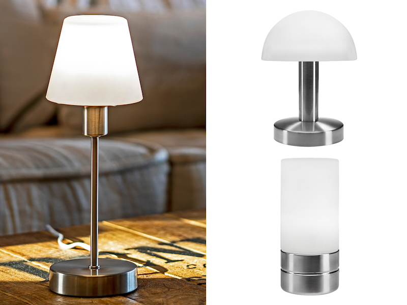 tischlampe mit glasschirm dimmbar per touch sensor. Black Bedroom Furniture Sets. Home Design Ideas