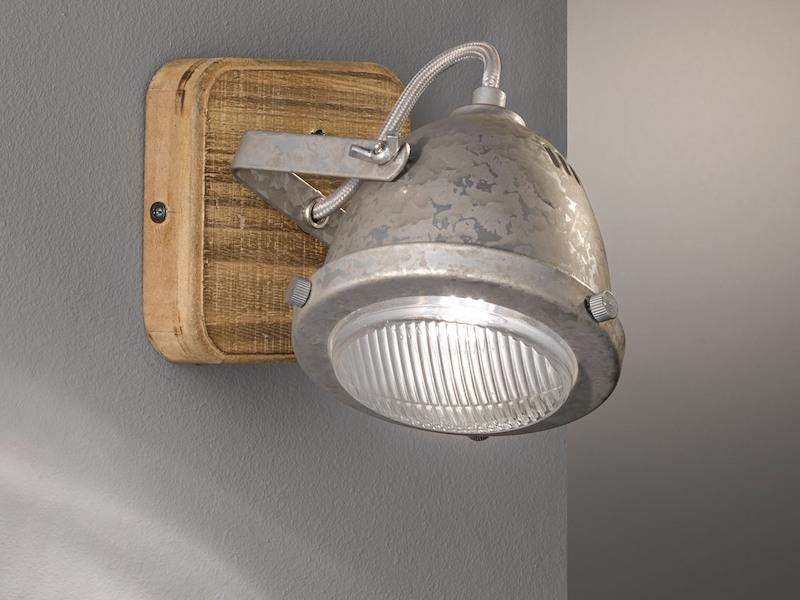 LED Vintage Wand Strahler Leuchte verstellbar FILAMENT Spot Lampe HOLZ Metall