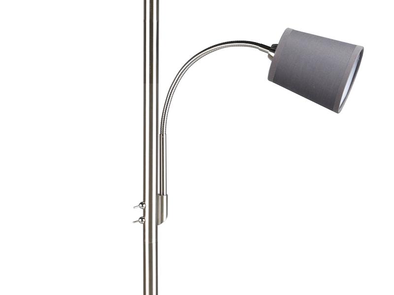Stehlampe Leselicht E27 Leseleuchten Standleuchte Lampenschirm grau mit Flexarm