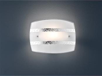 Flurleuchte Exklusive Deckenschale Ø30cm Glasschirm in weiß mit Streifendekor