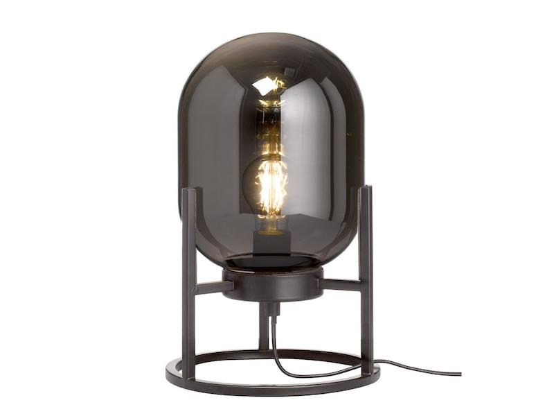 Honsel Tischleuchte Retro Design mit Rauchglas ausgefallene Nachttischlampe