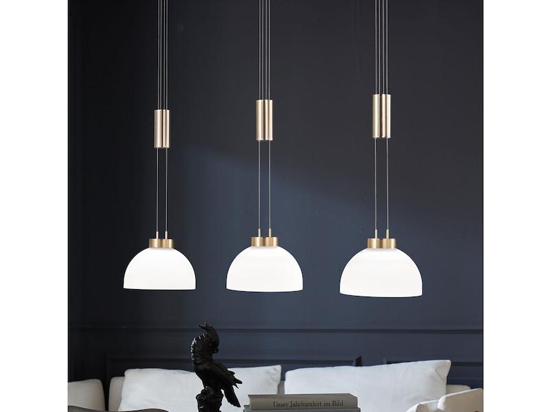 Esstischlampe Küchenlampe Wohnraumleuchte Honsel Design Pendelleuchte Glas weiß