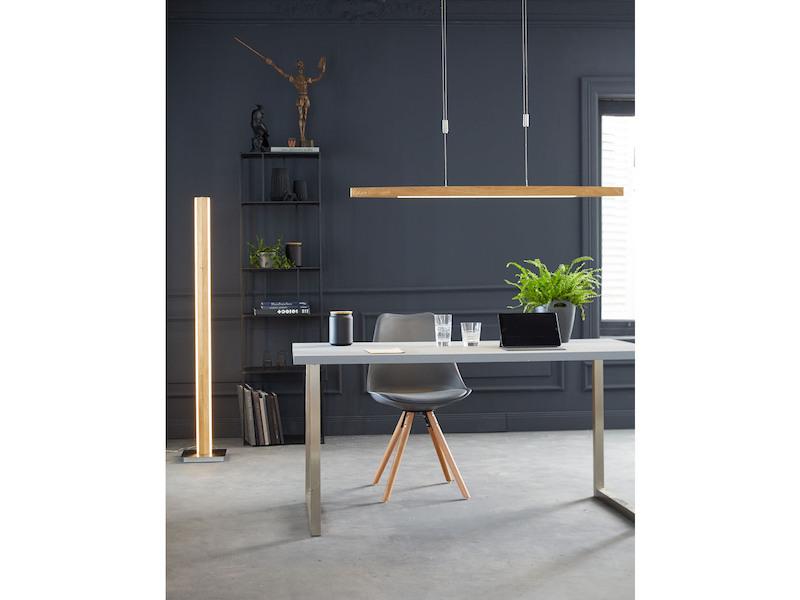 Wohnzimmerleuchte LED Stehlampe Design Holz Eicheoptik mit Dimmer /& Farbwechsel