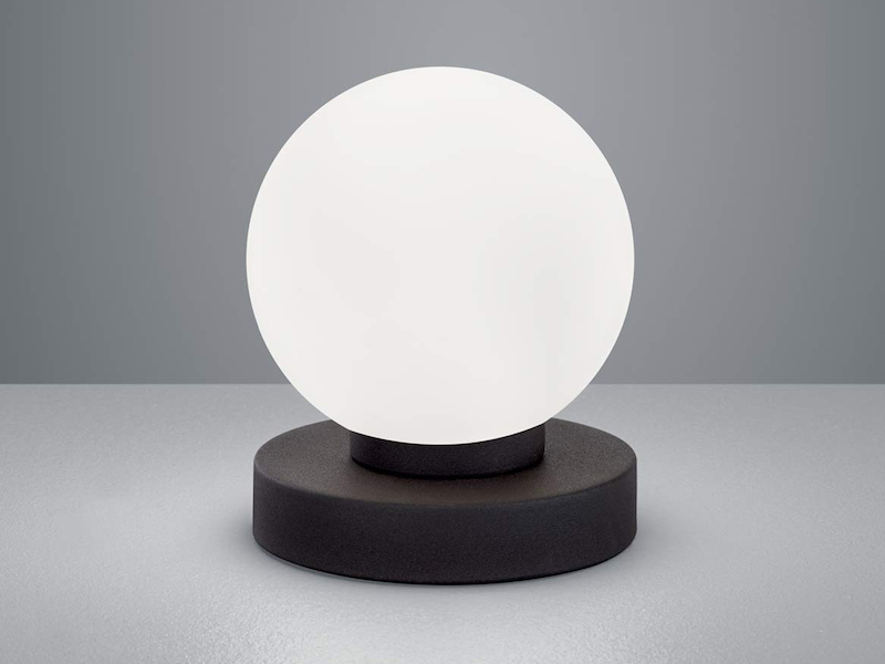 Design LED Wohnzimmerlampe Nickel /& Schirm weiß TOUCH Nachttischleuchte dimmbar
