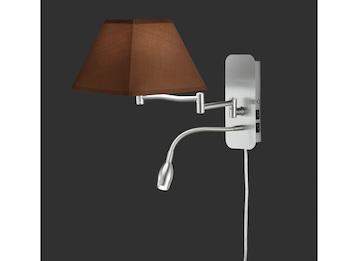 Wohnzimmerlampen Wandlampe mit Stoff Schirm braun Ø 20cm E14 /& LED Leselampe
