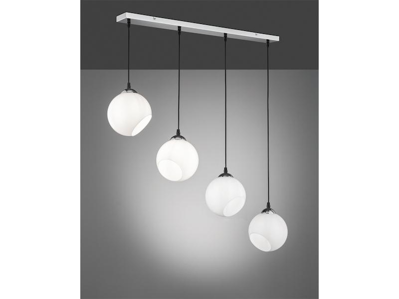 Hängelampe Weiß 2-flmg Pendel in Reihe Kugel Schirme Modern Leuchte