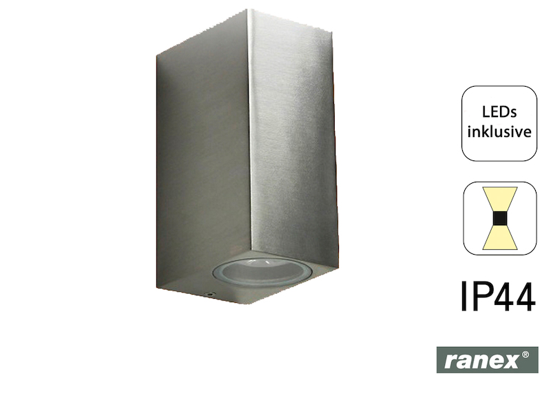 IP44 up//downlight 160Lm LED Wandleuchte Metall warm