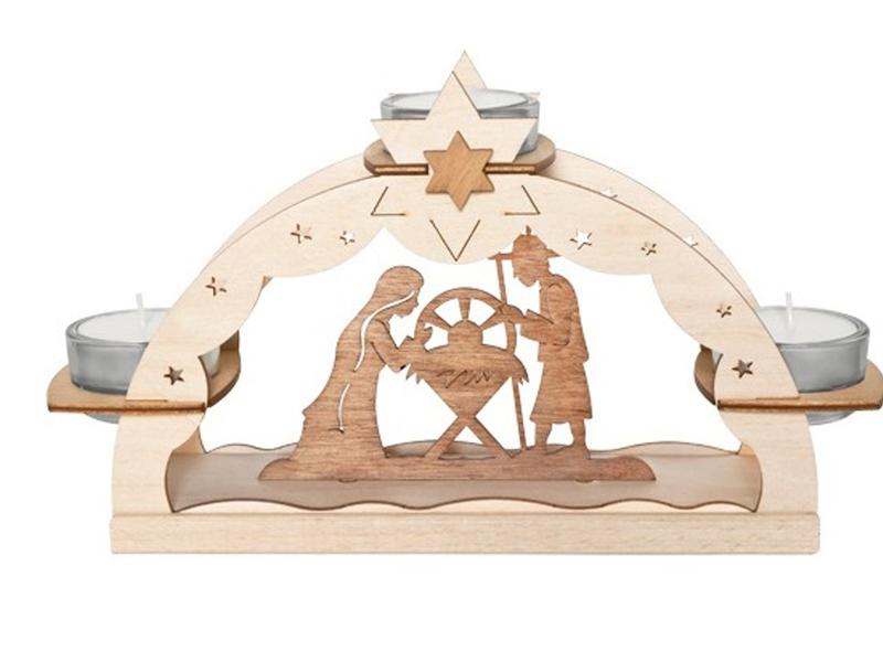Weihnachtsbeleuchtung Lichterbogen.Original Erzgebirge Teelichthalter Krippenszene Holz Natur Meine