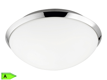 Runde Badleuchte, ink. 12W SMD-LED, 25cm, IP44, Chrom, Glas matt weiß