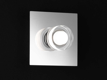 LED Wandleuchte LORIENT fürs Bad, IP23, 11x11 cm, Nickel / Chrom