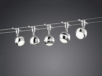 inkl 2 x 5 Meter Seil und Montagezubehör weiß LED Strahler Avignon chrom