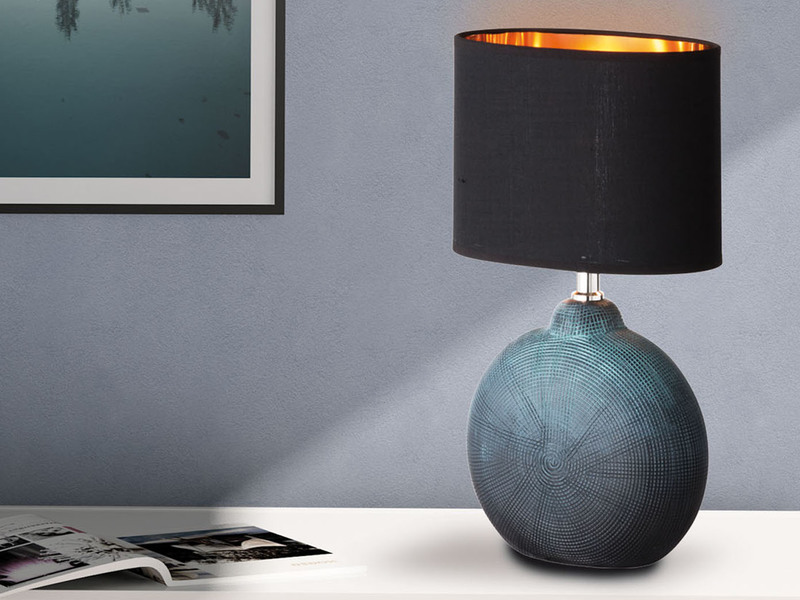 Elegante Beistellleuchte Leuchtenschirm oval braun Tischlampe Honsel-Leuchten