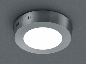 LED-Deckenleuchte CENTO, in Nickel matt, Acryl weiß, Ø 12 cm, 1x 5W SMD-LED