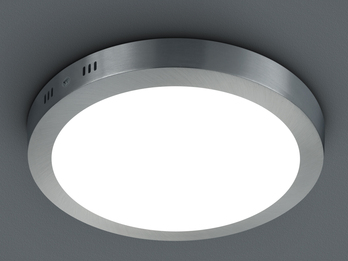 LED-Deckenleuchte CENTO, in Nickel matt, Acryl weiß, Ø 22,2 cm, 1x 16,5W SMD-LED