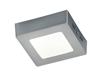 LED-Deckenleuchte ZEUS, in Nickel matt, Acryl weiß, 12x12 cm, 1x 5W SMD-LED