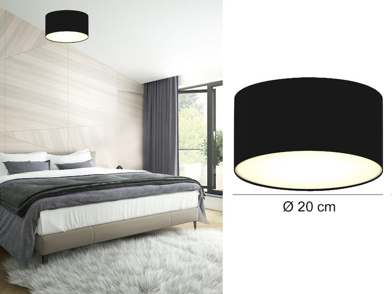 Moderne Deckenbeleuchtung Stoffschirm Rund Ø 30 cm braun E14 extern dimmbar