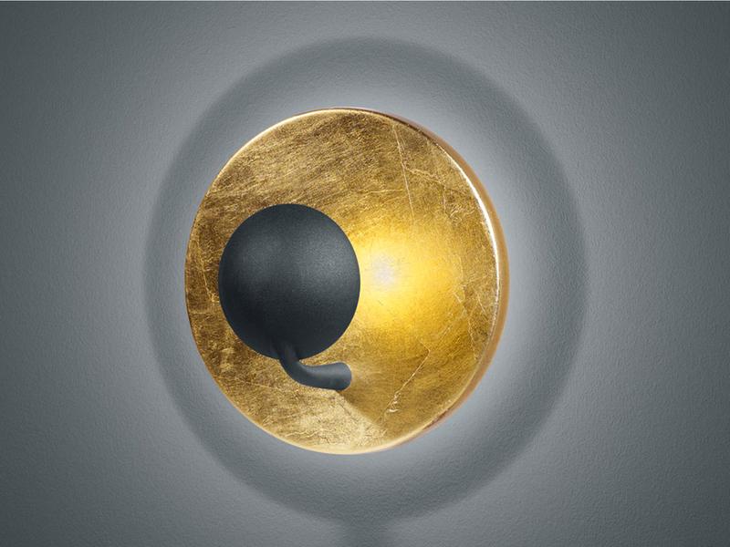LED Wandleuchte Wandlampe AURORA 2x LED Ø 20 cm Goldfarbig Trio Schwarz