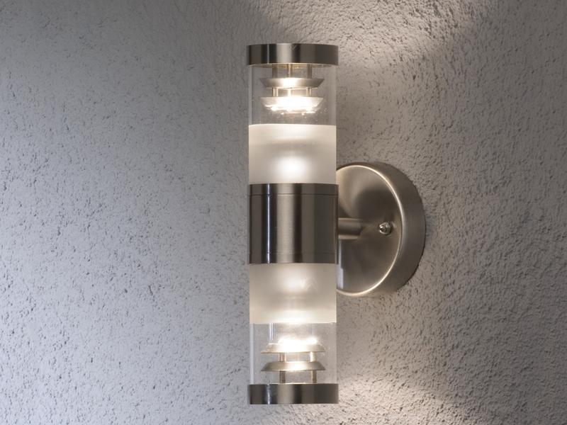 Konstsmide Außenwandleuchte BOLZANO dimmbar Edelstahl Fassadenbeleuchtung IP44