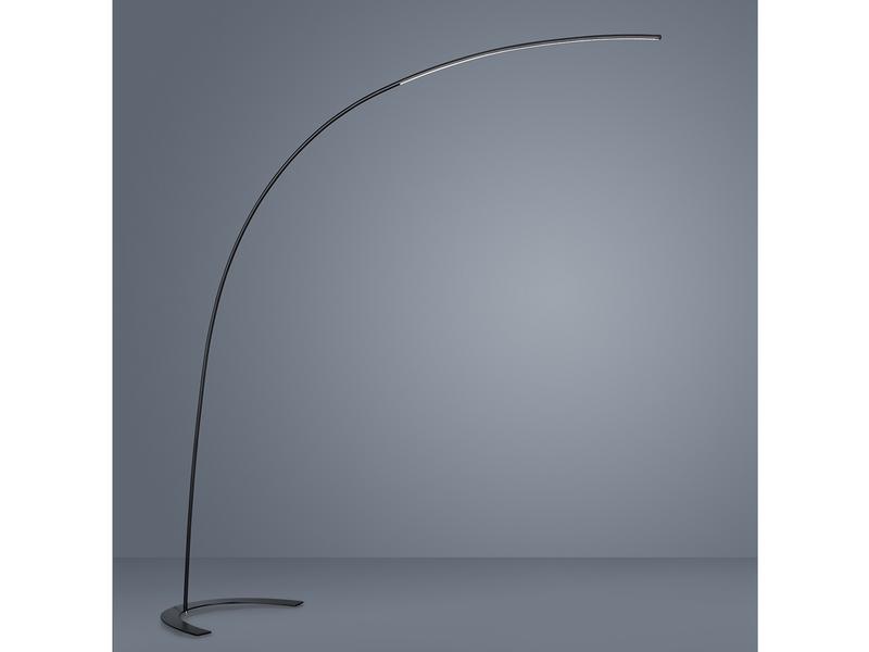 LED-Bogenleuchte mit Dimmer 180 cm hoch Trio-Leuchten Nickel matt