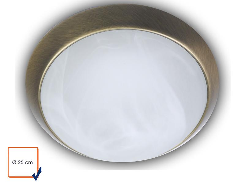 Glas Alabaster Deckenleuchte rund Messing poliert Ø 25cm Dielenleuchte