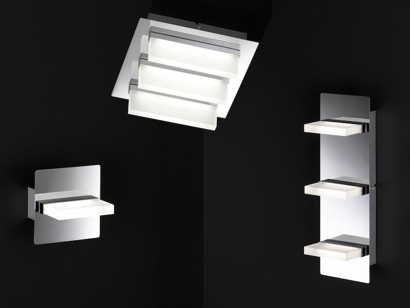Honsel-Leuchten Chrom // Acrylglas LED-Wandleuchte eckig 36x12 cm