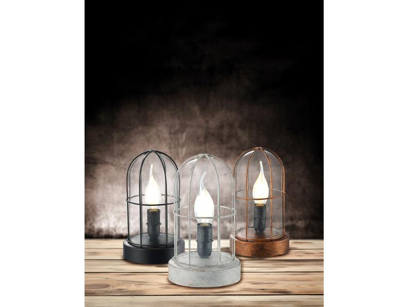 Tischleuchte BIRTE aus Metall u Trio E14 Glas klar in Kupfer antik