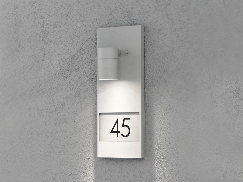 Hausnummerleuchte MODENA Alu schwarz Ziffern Höhe 41 cm inkl GU10