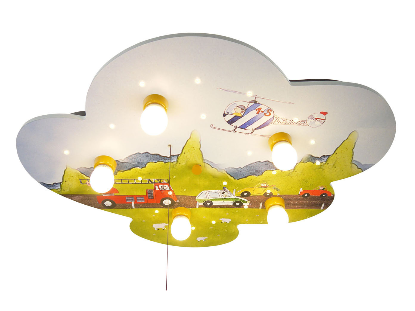 kinder deckenlampe autos mit zugschalter led schlummerlicht alexa licht an 4036239026715 ebay. Black Bedroom Furniture Sets. Home Design Ideas