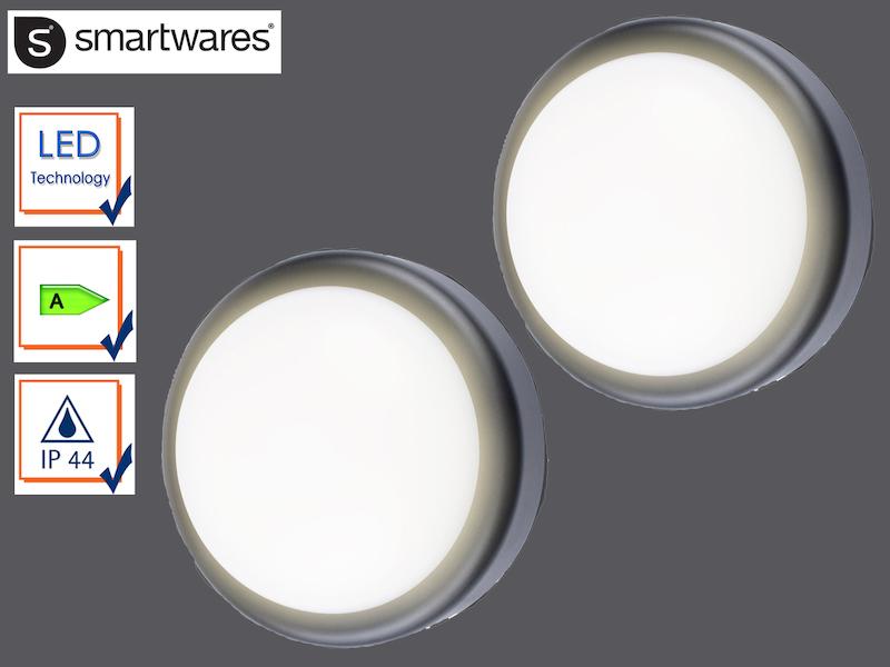 Details Zu 2x Led Außenwandleuchte Rund Schwarz Außenleuchte Ip44 Außenbeleuchtung Terrasse