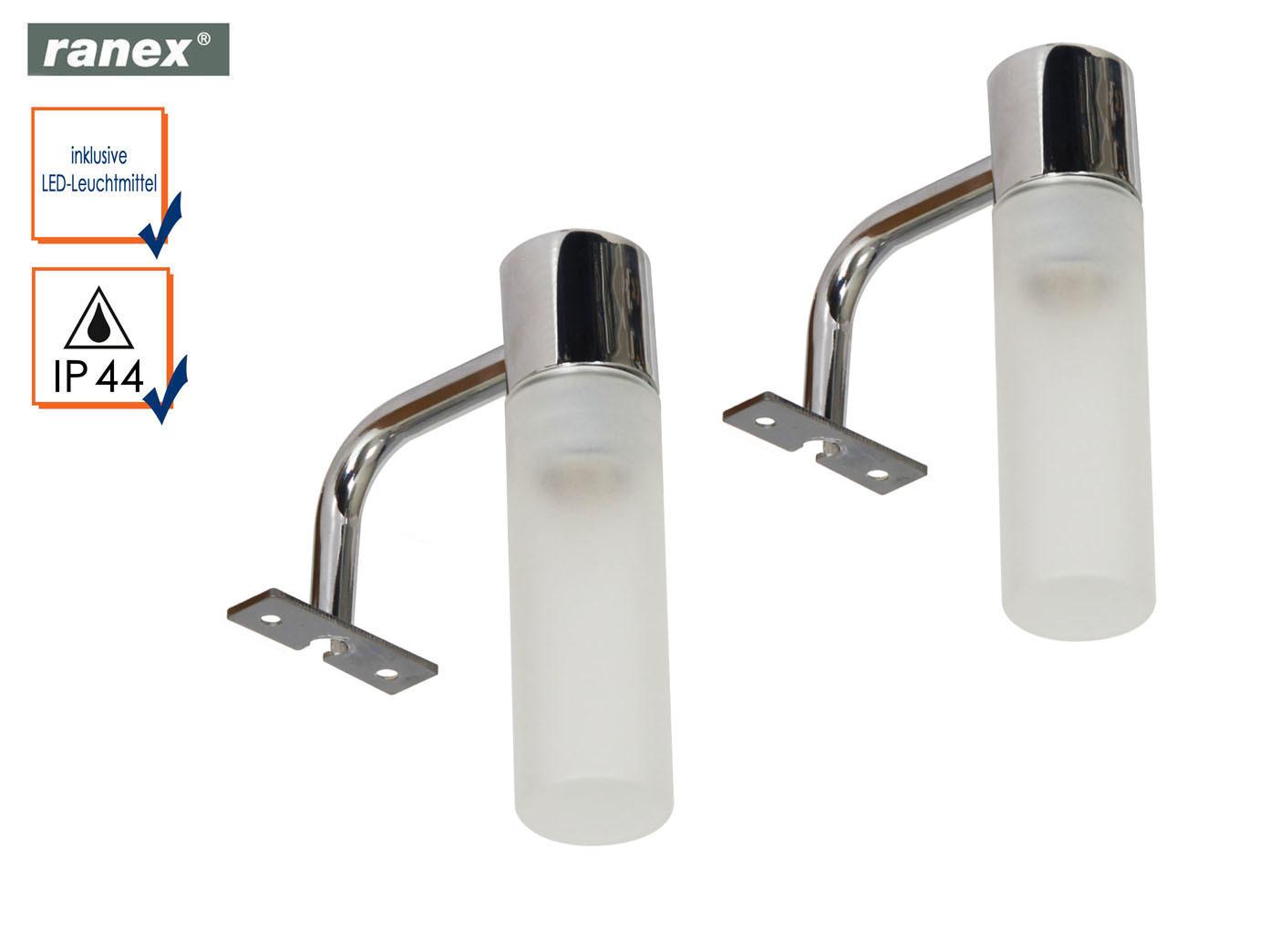 Das Bild Wird Geladen 2 Badezimmer Spiegelleuchten Mit LED  Lampenschirm Glas Beleuchtung